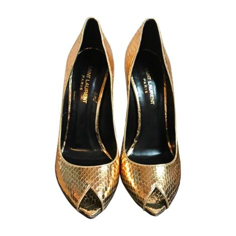 Escarpins à bouts ouverts SAINT LAURENT Doré, bronze, cuivre