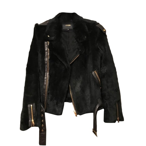 Blouson, veste en fourrure MAJE Noir