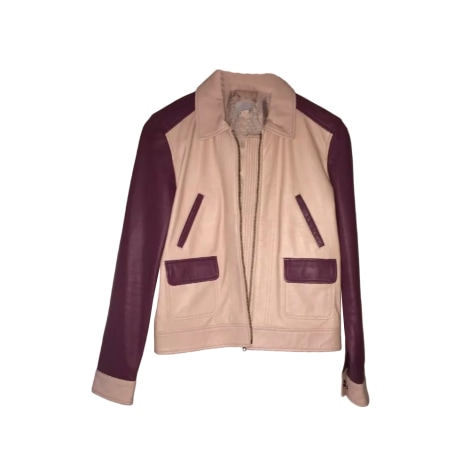 Leather Zipped Jacket GERARD DAREL Bordeaux rose