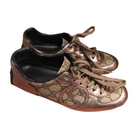 Sneakers GUCCI Gold, Bronze, Kupfer