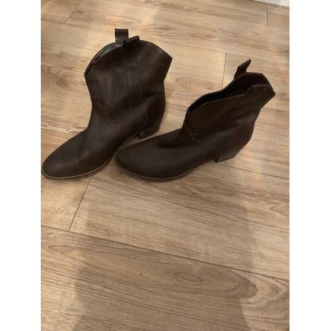 Santiags, bottines, low boots cowboy LA REDOUTE Marron