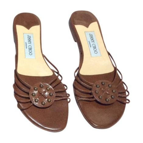 Sandales plates  JIMMY CHOO Marron