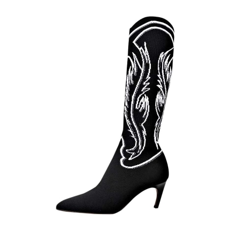 Santiags, bottes cowboy DIOR EMBROIDERED KNIT IN BLACK & WHITE