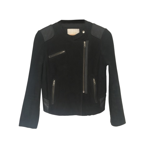Leather Zipped Jacket MAJE Black
