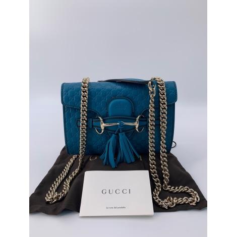 Schultertasche Leder GUCCI Blau, marineblau, türkisblau