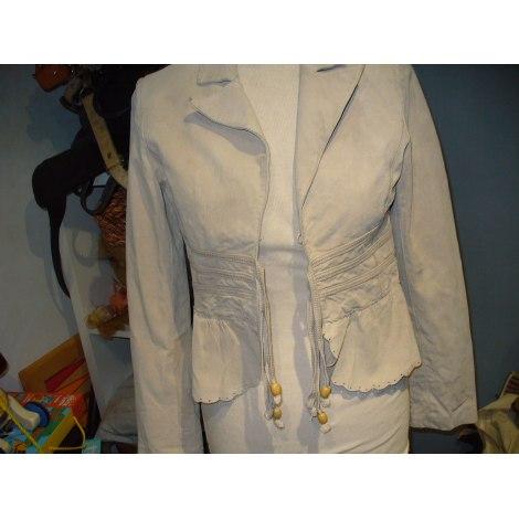Veste en cuir MORGAN Blanc, blanc cassé, écru