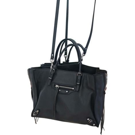 Leather Handbag BALENCIAGA Papier Gray, charcoal