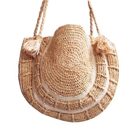 Leather Handbag DES PETITS HAUTS Beige, camel