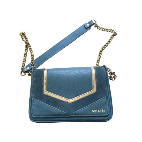 Leather Shoulder Bag NAT & NIN Blue, navy, turquoise