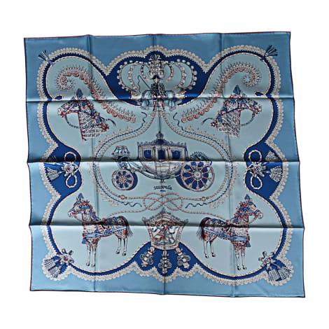 Tuch, Schal HERMÈS Carré Blau, marineblau, türkisblau