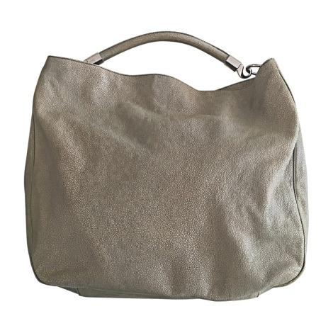 Leather Handbag YVES SAINT LAURENT Gris clair / beige sable