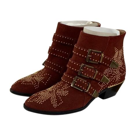 Bottines & low boots motards CHLOÉ Susanna Rouge, bordeaux