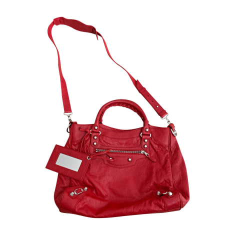 Leather Handbag BALENCIAGA Red, burgundy