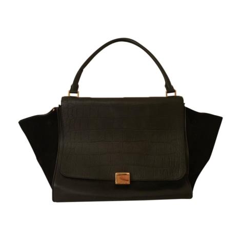 Leather Handbag CÉLINE Trapèze Black