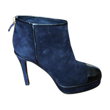 High Heel Ankle Boots CHANEL Blue, navy, turquoise