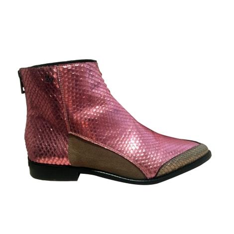 Flat Ankle Boots ZADIG & VOLTAIRE fuschia, doré