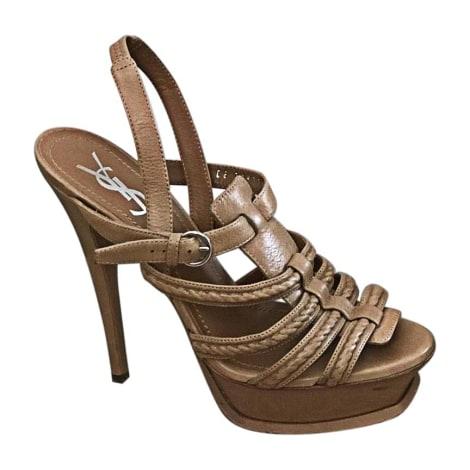 Sandales à talons SAINT LAURENT Beige, camel