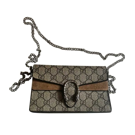 Leather Shoulder Bag GUCCI Dionysus Gray, charcoal