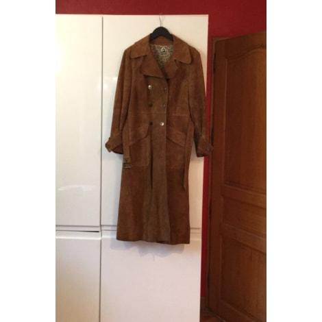 Manteau en cuir VINTAGE Beige, camel