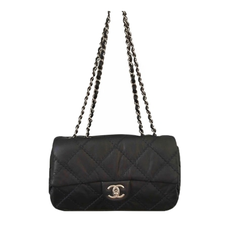 Leather Clutch CHANEL Gray, charcoal