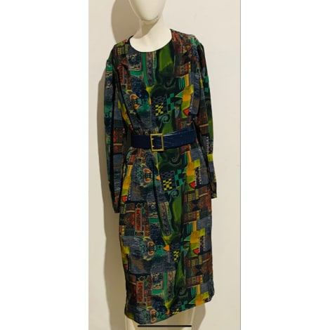 Robe mi-longue VINTAGE Verte et multicolore