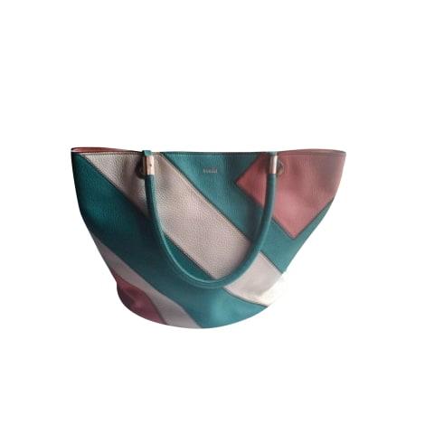 Sac à main en cuir LANCEL French Flair Turquoise,corail,blanc