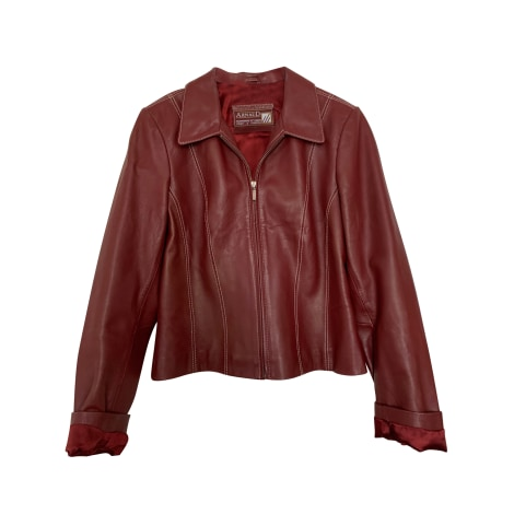 Leather Zipped Jacket ARNAUD FOURREUR Red, burgundy