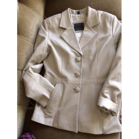 Veste en cuir VERSACE Blanc, blanc cassé, écru