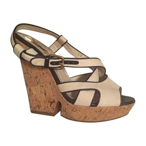 Sandales compensées YVES SAINT LAURENT Blanc, blanc cassé, écru
