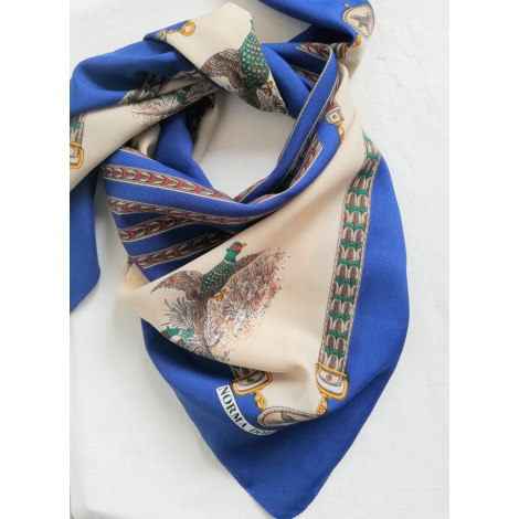 Foulard 100% VINTAGE Bleu, bleu marine, bleu turquoise