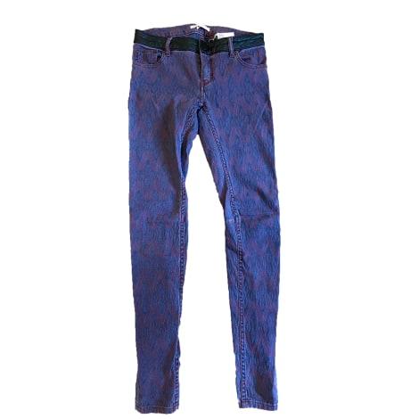 Pantalon slim, cigarette MAJE Noir bordeau violet