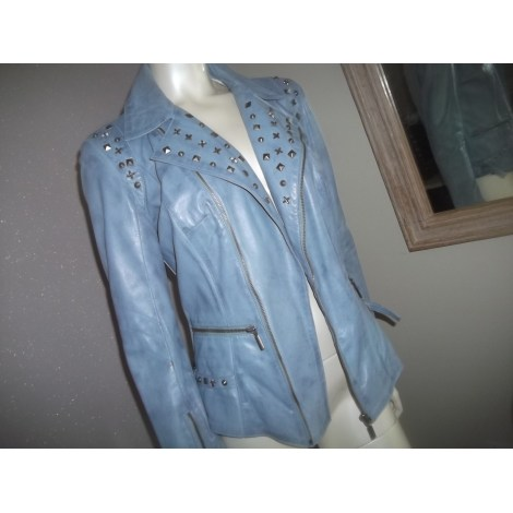 Veste en cuir ARTURO Bleu, bleu marine, bleu turquoise