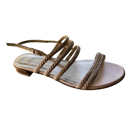 Sandales plates  STUART WEITZMAN Beige, camel