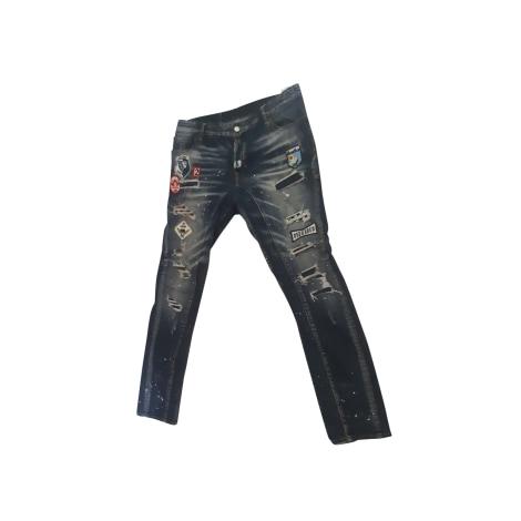 Pantalone slim DSQUARED2 Blu, blu navy, turchese