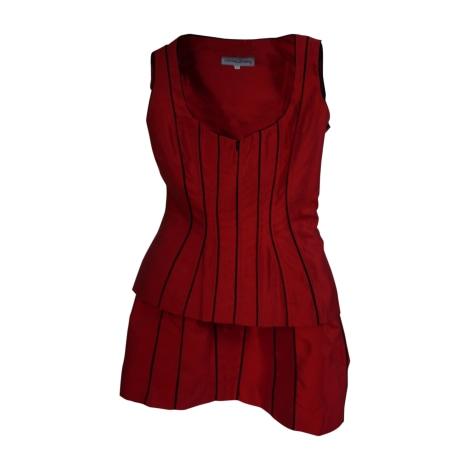 Tailleur jupe CHANTAL THOMASS Rouge avec des rayures noires