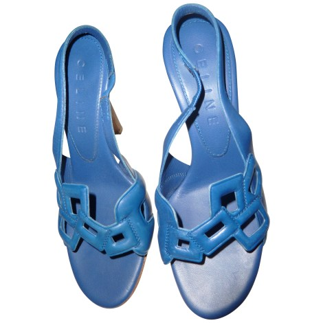 Sandales à talons CÉLINE Bleu, bleu marine, bleu turquoise