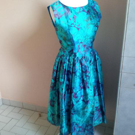 Robe mi-longue CHRISTINA VIVA bleu turquoise, mauve, marron clair, vert