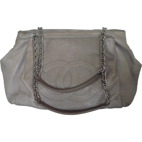 Sac à main en cuir CHANEL Gris, anthracite