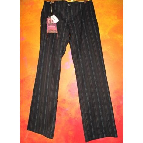 Pantalon droit FREEMAN T PORTER Noir, avec très fines rayures