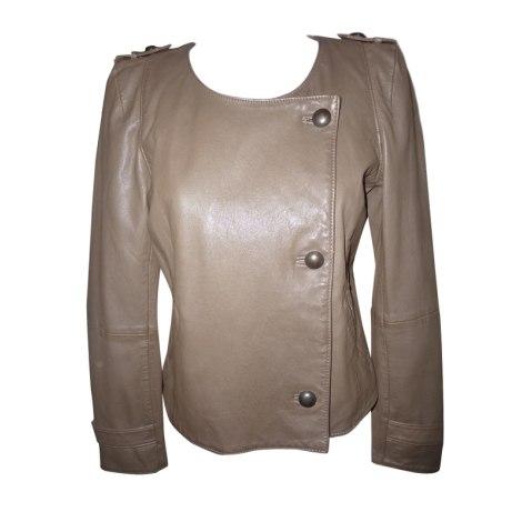 Leather Zipped Jacket COMPTOIR DES COTONNIERS Brown