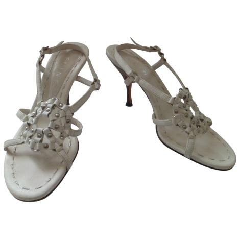 Sandales à talons CÉLINE Blanc, blanc cassé, écru
