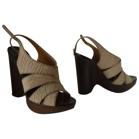 Sandales compensées CHLOÉ Beige, camel