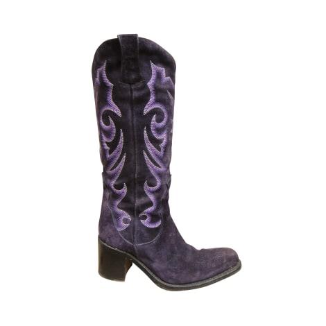 Santiags, bottes cowboy FREE LANCE Violet, mauve, lavande