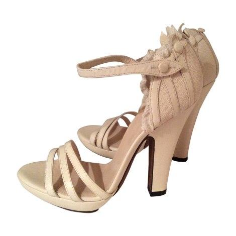 Sandales à talons NINA RICCI Blanc, blanc cassé, écru