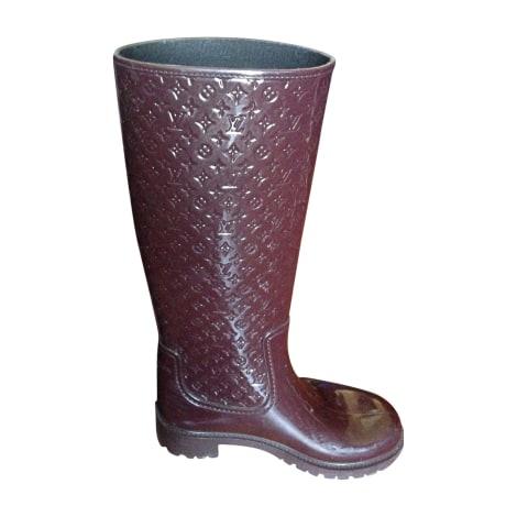 Bottes de pluie LOUIS VUITTON Rouge, bordeaux