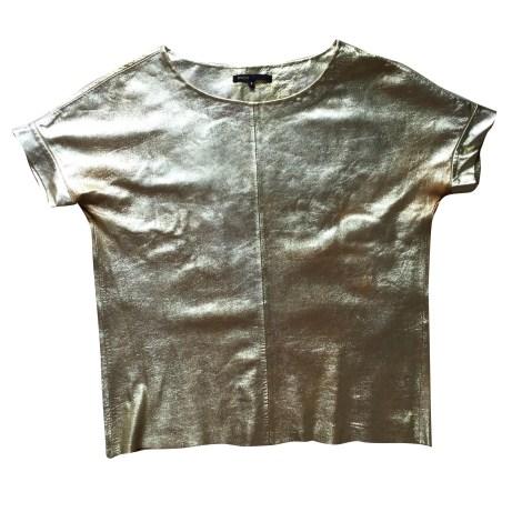 Top, tee-shirt MAJE Doré, bronze, cuivre