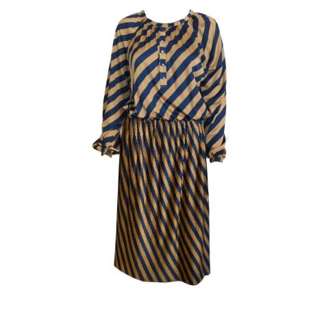 Robe mi-longue CHRISTINA VIVA marron et bleu
