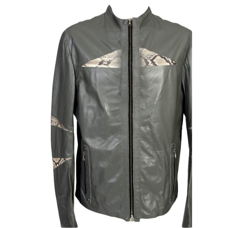 Blouson en cuir JOHN RICHMOND Gris, anthracite