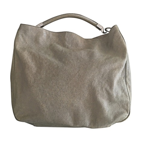 Lederhandtasche YVES SAINT LAURENT Gris clair / beige sable