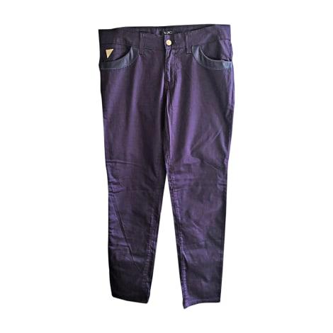 Pantalon slim, cigarette VERSACE Violet, mauve, lavande